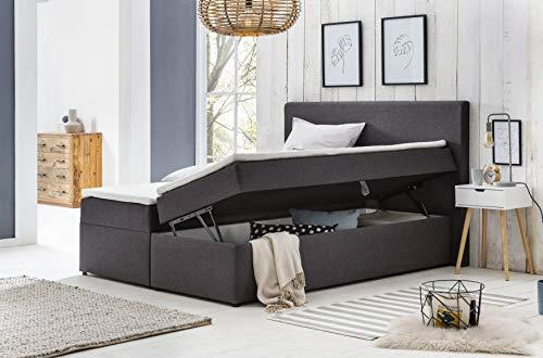 Furniture for Friends Möbelfreude® Polsterbett Bianca | 160x200 cm Anthrazit H2 | mit Bettkasten & hochwertiger Bonell Federkernmatratze | Boxspringbett-Optik
