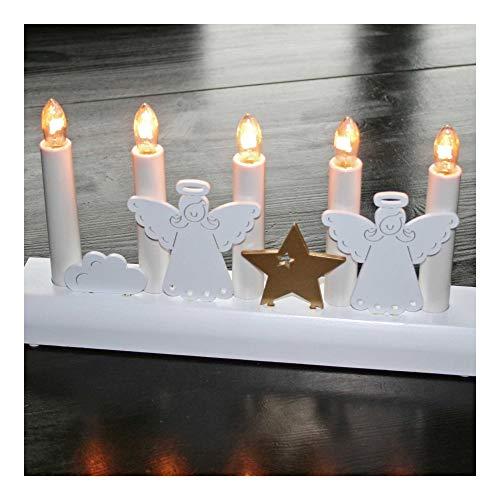 Design LED Holz-Leuchter Schwibbogen Lichterbogen'Engel + Stern' weiß Modern