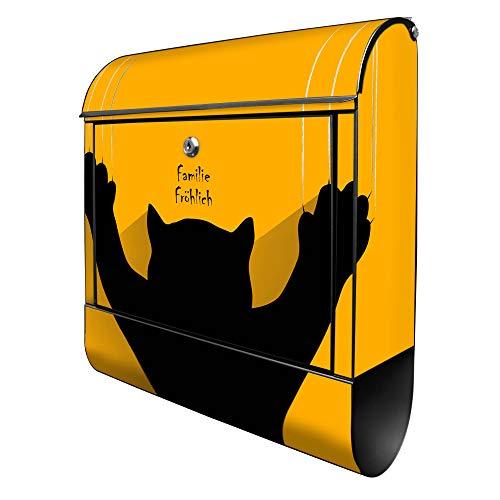 Banjado Design Briefkasten personalisiert mit Motiv WT Scratch   Stahl pulverbeschichtet mit Zeitungsrolle   Größe 39x47x14cm, 2 Schlüssel, A4 Einwurf, inkl. Montagematerial