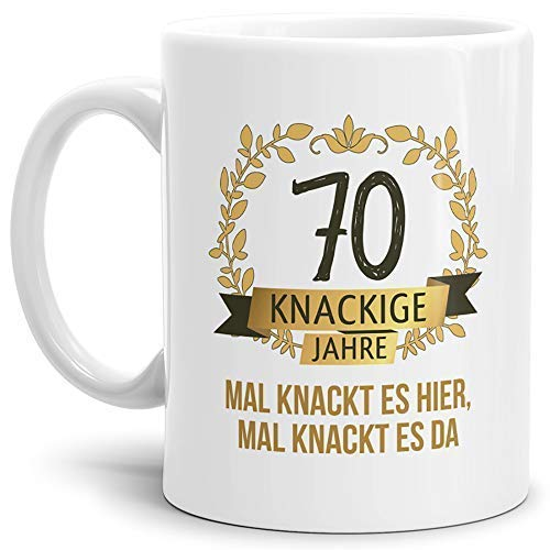 Tassendruck Geburtstags-Tasse Knackige 70' Geburtstags-Geschenk Zum 70. Geburtstag/Geschenkidee/Scherzartikel/Lustig/Witzig/Spaß/Fun/Mug/Cup Qualität - 25 Jahre Erfahrung