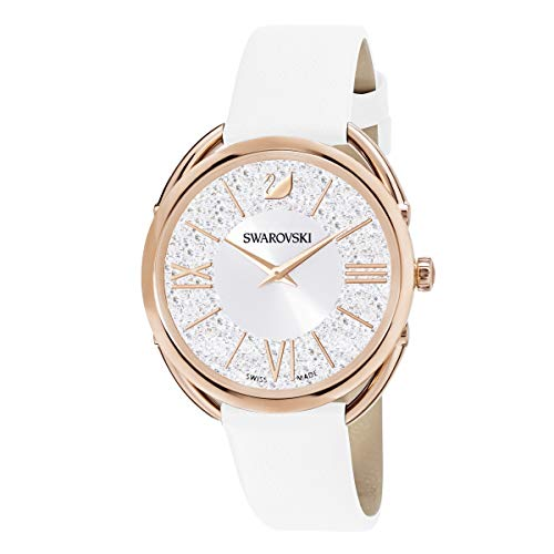 Swarovski Women's Crystalline Glam Watch, White Swarovski Crystals with Rose-gold Tone Plating, Wristwatch with White Leather Strap