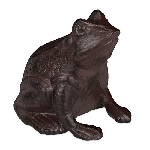 Relaxdays Gartenfigur Frosch, sitzend, aus Gusseisen, antike Optik, wetterfest, Gartendeko, Balkon, Froschfigur, braun, 1 Stück