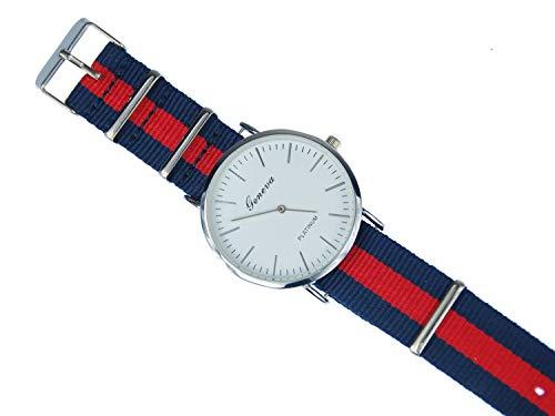 Miniblings Herren Damen Armbanduhr DAU HAU Uhr Zeit Textil rot dunkelblau Silber - Modeschmuck Handmade - Damen Mädchen Bettelarmband