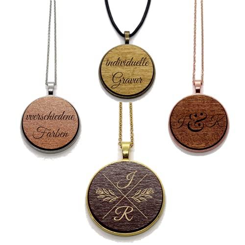 JaRo Halskette Holz mit personalisierter Gravur Unisex Damen Herren Geschenkidee Weihnachten Ostern Geburtstag Jahrestag Valentinstag (Silberfarben mit Gravur)