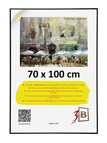 3-B Bilderrahmen POSTER - Posterrahmen Kunststoff mit Acrylglas und Schutzverpackung - schwarz - 70x100 cm ( B1)