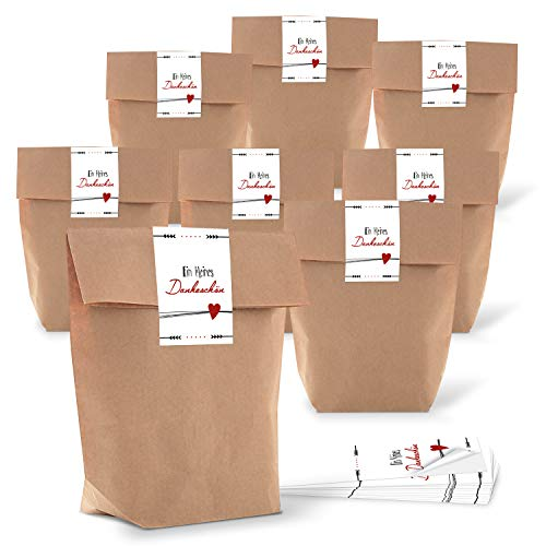 25 kleine Gastgeschenk Verpackung Geschenktüte Tüte Papiertüte DANKE DANKESCHÖN Geschenk verpacken braun weiß rot give-away HERZ Geschenkbeutel Papierbeutel