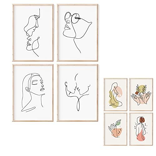 Premium Home | Schwarz Weiß Bilder Frau | Wandkunst | 4 beidseitige Bilder im stilvollen Set als Wohnzimmer Deko | Minimalistiche Deko | Bilder Schwarz Weiß, ohne Rahmen | Wandbilder Set | 4x A4