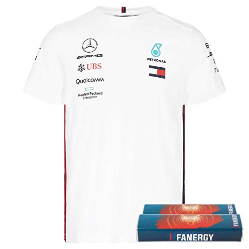 Mercedes AMG Team Herren T-Shirt 2019 weiß + FANERGY Traubenzucker (L)