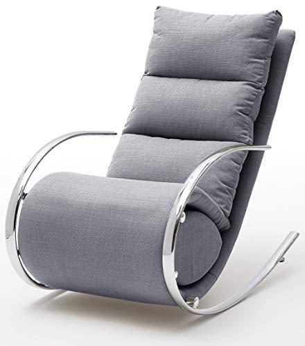 Robas Lund Relaxsessel Relaxliege Wohnzimmer Schaukelstuhl York, Webstoff Grau