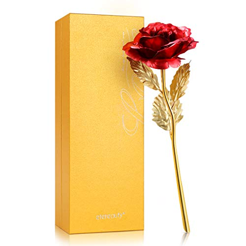 ETEREAUTY 24K Gold Rose, Rose Geschenk Vergoldete Rose Handgefertigt Konservierte Rose - mit Geschenkbox, Weihnachtstag, Geburtstag, Jahrestag und mehr