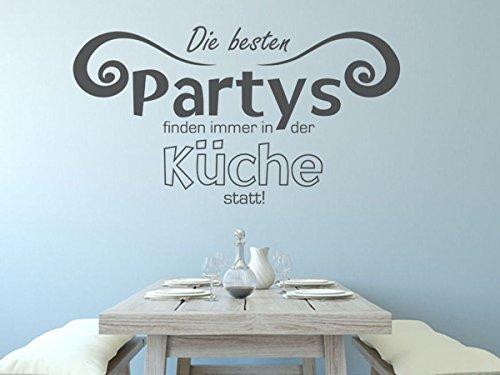 Wandtattoo-bilder Wandtattoo Die besten Partys finden immer in der Küche statt Nr 2 Küchendeko Küchenideen Größe 140x76, Farbe Schwarz