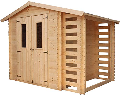 TIMBELA Holzhaus Gartenhaus mit Brennholzschuppen M386C - Gartenschuppen Holz B272xL206xH218 cm/ 3,53 + 0,97 m2 Lagerschuppen für Garten - Fahrrad Schuppen - Wasserfestes Dach