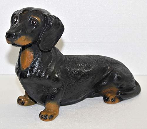 JS GartenDeko Figur Hund Dackel glatthaar sitzend Dachshund Dekofigur Gartenfigur aus Kunstharz H 22 cm