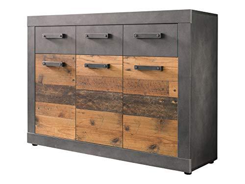 Newfurn Sideboard Kommode Industrial Anrichte Highboard Mehrzweckschrank II 117x86x 37 cm (BxHxT) II [Jamell.Two] in Graphit Grau Matera/Old Wood Wohnzimmer Schlafzimmer Esszimmer