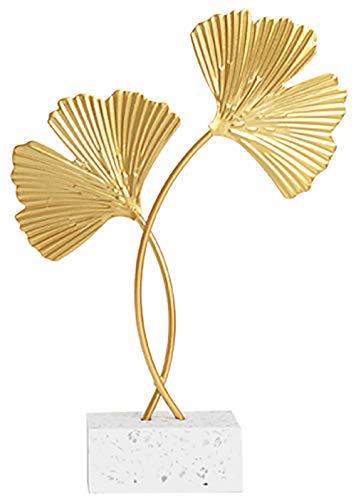 Miystn Ginkgo, Wohnzimmer Deko, Dekoobjekte für Wohnzimmer Outside Garten Modern Skulptur Accessoires (1 Stück, Golden)