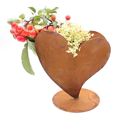 Rostikal | Dekoherz Pflanzherz Rostherz zum bepflanzen | Edelrost Metall Herz Gartendeko | 23 cm
