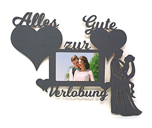Namofactur Verlobungsgeschenke für Beide Geschenk zur Verlobung Mann Frau Wand Foto Holz Bilderrahmen Alles Gute 10x15 cm Ehepaar Ehefrau Ehemann
