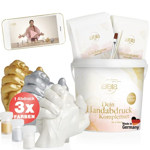 larella® 3D Handabdruck Set für Paare mit 3 Farben, MADE in GERMANY, Gipsabdruckset Hände mit Alginat, Jahrestag Geschenk für Ihn und Sie, Partner Geschenke, Pärchen Geschenke