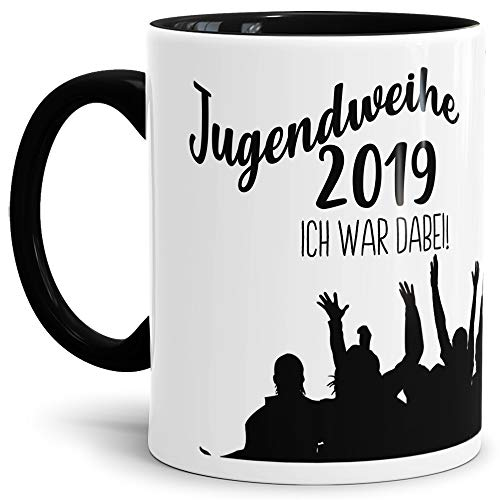 Tassendruck Geschenk-Tasse zur Jugendweihe Jugendweihe 2019' - Erwachsen/Kind/Feier/Innen & Henkel Schwarz