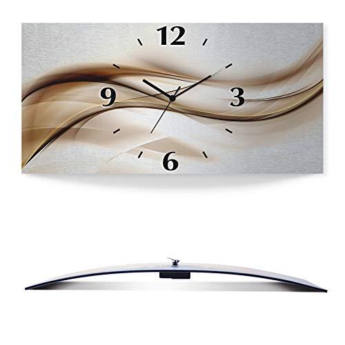 Artland Wanduhr ohne Tickgeräusche 3D Alu Quarz Uhr Silber metallic lautlos 50x25 cm Schön abstrakt braun Welle Design Hintergrund T9LI