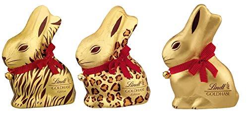 Lindt Goldhase - Limited Safari Edition - Geschenk-Set für Ostern - Premium Vollmilch-Schokolade (3 x 200g)