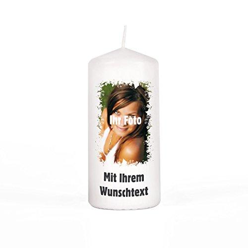 Herz & Heim® Kerze Stumpenkerze mit gedruckten Foto und Wunschtext Gratis, 150/67mm Brenndauer 45 h