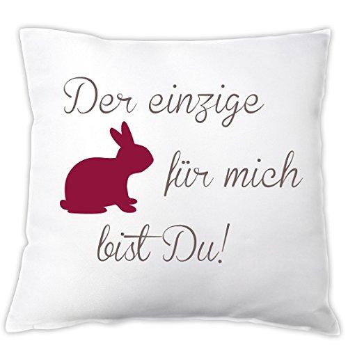 Kissen 'Der einzige Hase für mich bist DU!', Dekokissen, Zierkissen, Geschenk zum Valentinstag, zu Ostern, Ostergeschenk, Geschenkidee, Valentinstagsgeschenk (rot)