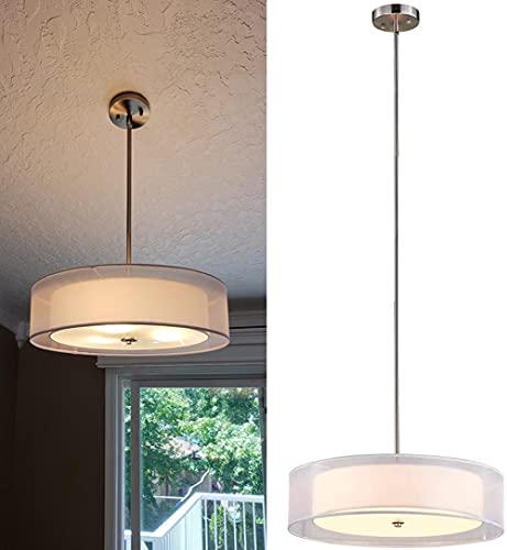 Depuley LED Deckenlampe Höhenverstellbar Rund, Moderne Deckenleuchte Hängelampe Esszimmer, mit 3*E27 Lampenfassung, Hängeleuchte textil Stoffschirm, Esstischlampe für Wohnzimmer Schlafzimmer Küchen