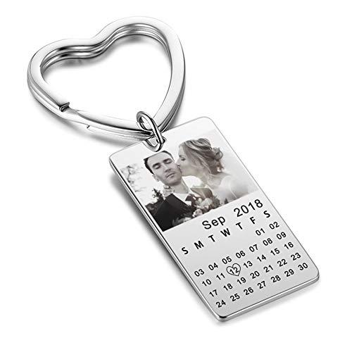 Personalisiert Silber Schlüsselring zum Männer Frauen Stilvoll Rechteck Kalender Datum Schlüsselanhänger zum Mädchen Foto Schlüsselring Inhaber Graviert Text Angepasst Hochzeit Jahrestag Geschenke