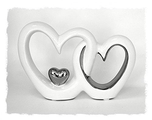 Deko Figur Doppeltes Herz Herzen Paar, 13 x 19 cm, Keramik Lackiert Weiß Silber Chrom, Herzchen Herzfigur Herzaufsteller Dekoherz Modern