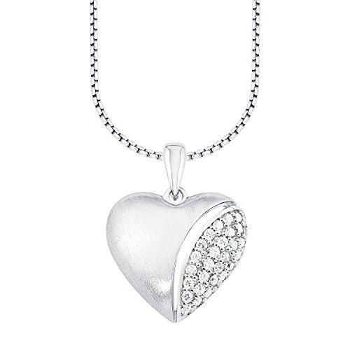 s. Oliver Damen-Kette mit Anhänger Herz 925 Silber rhodiniert Zirkonia weiß Rundschliff 45 cm - 540575