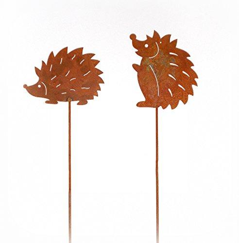 Gartenstecker 'Igel' aus Metall mit Rostfinish 2er-Set