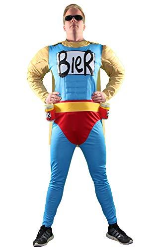 Foxxeo Das Biermann Helden Kostüm für echte Männer - Größe S-XXL - für Karneval Fasching Junggesellenabschied JGA Größe L