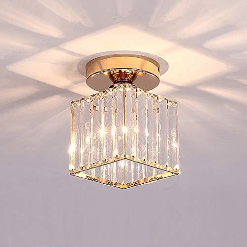 E27 Moderne Kristalldeckenleuchte Kreativer Lampenschirm für Flur,Treppe, Eingang,Schlafzimmer,Wohnzimmer,Bar, Restaurant,Küche, Café,nordische minimalistische Deckenleuchte(quadratische/Goldfarbe)