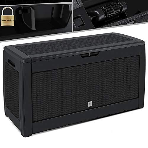 KESSER® Auflagenbox Kissenbox 310 Liter mit Rollen klappbarer Deckel Haltegriffe Rattanoptik Gartenbox, Anthrazit