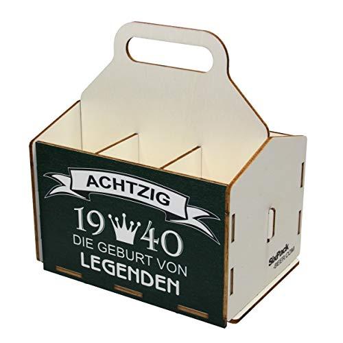 Bierträger aus Holz - Sixpack - 6er Träger - Geschenke für Männer - Geburtstag 80 Jahre, Geburtstagsgeschenk 80 Jahre, 1940
