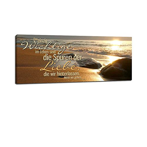 Dalinda® XXL-Wandbild Leinwandbild mit Spruch Spuren der Liebe. 100x40cm Keilrahmenbild Kunstdruck Wandbild Panorama Leinwandbild LS101