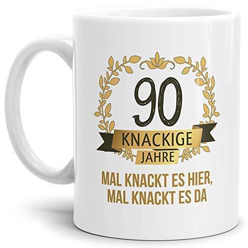 Tassendruck Geburtstags-Tasse Knackige 90' Geburtstags-Geschenk Zum 90. Geburtstag/Geschenkidee/Scherzartikel/Lustig/Witzig/Spaß/Fun/Mug/Cup Qualität - 25 Jahre Erfahrung