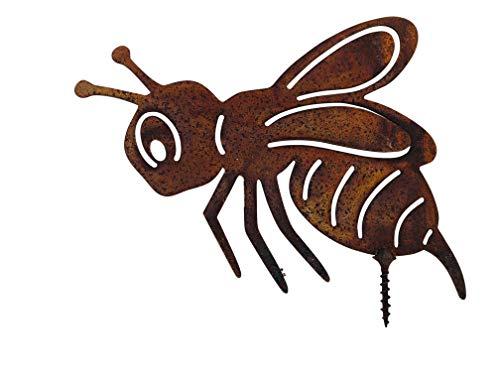 ecosoul Gartendeko Biene mit Dorn Schraube zum Befestigen Ostern Baumtier Metall Rost Deko