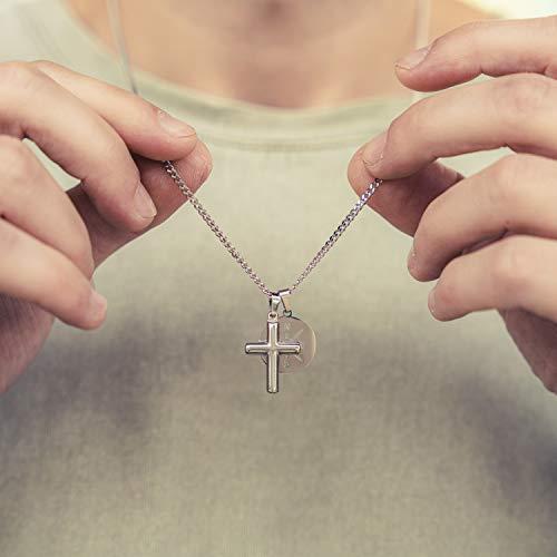 Made by Nami Herren Halskette mit 2 Anhängern - 60 cm Herren Silber-Kette Edel-Stahl - Coole Kreuz-Kette - Handmade Glieder-Kette - Männer-Kette - Geschenk Geburtstag für Ihn (Silber Kreuz Kompass)