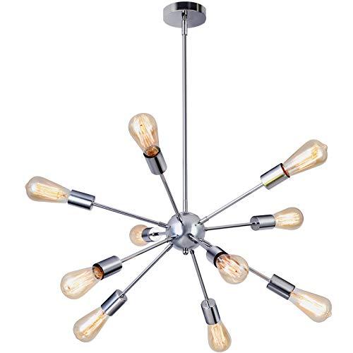 Glighone Sputnik Kronleuchter Modern Deckenleuchte Pendelleuchte Hängelampe mit 10-Flammig E27 Lampenfassung Silber Metall für Esszimmer Zimmer Wohnzimmer Küche Café Restaurant usw