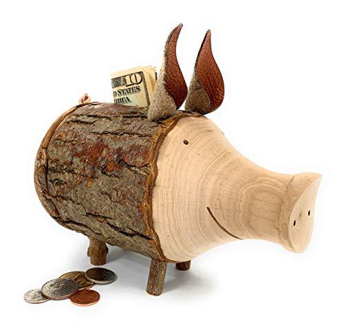 Sparschwein Rudi aus Astholz mit Rinde - Spardose aus Holz - kreative Geldgeschenk Idee