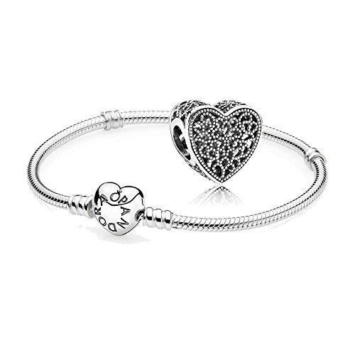 Original Pandora Geschenkset - 1 Silber Armband 590719-21 mit Herz Schließe + 1 Silber Charm 791811 Ewige Liebe
