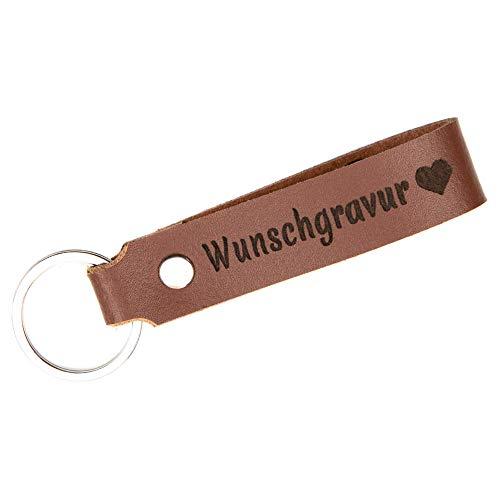 TIDERO Schlüsselanhänger Leder mit Wunschgravur, individuelle Gravur - personalisiert Schlüsselbund Namen Auto - Geschenk für Männer Frauen Jahrestag - 100% Handmade in Germany - braun