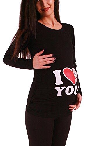 Love - Lustige witzige süße Umstandsmode Umstandsshirt Schwangerschaftsshirt Sweatshirt mit Motiv für die Schwangerschaft, Langarm (Schwarz, Medium)