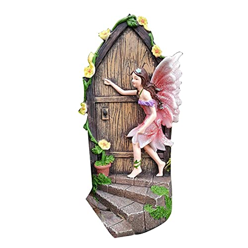 Ukuding Gartendeko Garten Ornament Sitzen Magische Fee, Sitzende Elfen Gartenfiguren,Basteltür 3D-Deko Wichteltür Set, Feengarten-Dekoration, Fenster Dekorationen Miniatur Hofkunst