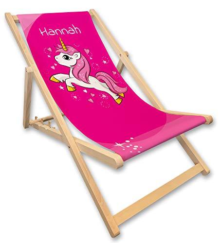 Werbetreff Gera Liegestuhl mit Name, Einhorn, pink, rosa, Mädchen, Strandstuhl, Gartendeko, Kinderzimmer, Geschenkidee Schulanfang