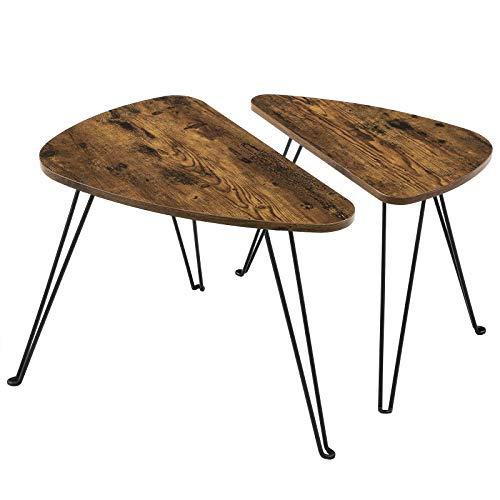 VASAGLE Couchtische, 2er Set Beistelltische, für Wohnzimmer, Esszimmer, Schlafzimmer, Industrie-Design, vintagebraun-schwarz LNT012B01