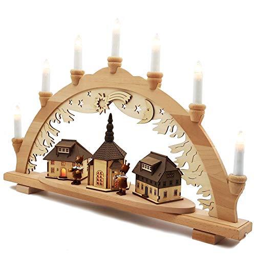 XXL Schwibbogen Innenbeleuchtet Seiffener Kirche im Erzgebirge Original Vogtland Souvenir Schwippbogen Lichterbogen 57cm
