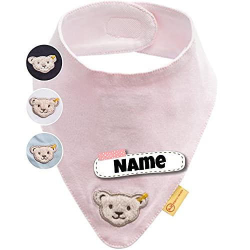 Steiff Baby Halstuch personalisiert | individuell bestickt mit Namen | 100% Baumwolle | 4 Farben verfügbar (Pastellrosa)